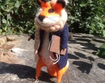 Needle Felted Mr.Ginger Fox Handmade Art Eco-friendly toy 16cm