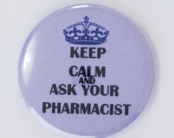 Keep Calm and Ask Your Pharmacist, Pharmacy Badge Reel, ID badge holder