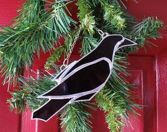Raven Black Stained Glass Ornament Sun Catcher