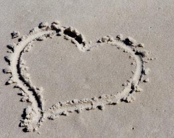 377 Heart Sand Greeting Card Seashore Ocean Valentine Love