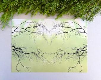 Printable art, digital download, mirror photograph, botanical wall art, greenery, mirror image, branches, branch heart, tree love