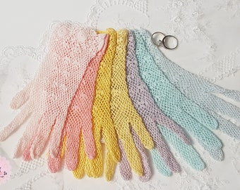 Vintage Crochet Gloves for Brides or Bridesmaids, 'ice cream colours', Wedding accessories