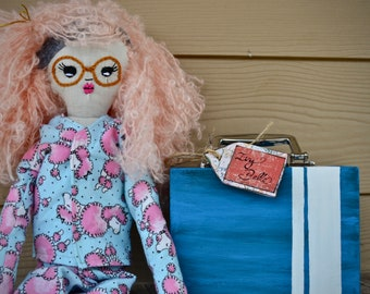 Stuffed Doll with Yarn Hair (2ft Tall) With Suit Case
