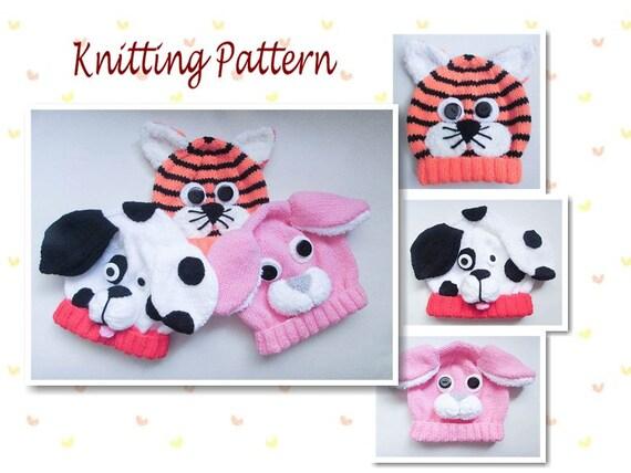 Knitting Pattern Rabbit Hat : Knitting pattern dalmatian dog rabbit tiger animal baby beanie