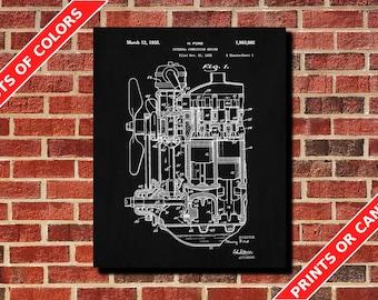 Engine Poster Engine Patent Print Engine Art Blueprint Mechanic Tech Decor