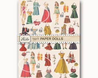 Vintage Paper Doll PAPER, vintage Gift Wrapping, Color Digital Download, Printable Paper, Mothers Day images, Digital collage, ephemera,