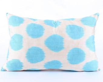Ikat,Blue, Polka Pillow Cover, Decorative Pillows,  Couch  Pillows, Ikat Pillowcase, Silk, Eclectic Home Decor