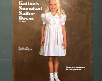 Martha Pullen Smocked Sailor Dress Pattern in Sizes 1-8 from 1983, Katinas Smocked Sailor Dress, Heirloom Sewing Patterns, Smocking Pattern