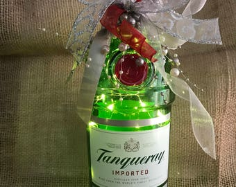 Lighted Tanqueray Bottle with Warm White LED Battery Operated Lights