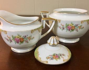 Imperial China Sugar Bowl & Creamer Set