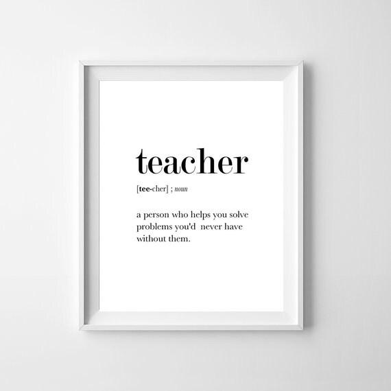 Teacher Definition Print Dictionary Art Funny Teacher Gift