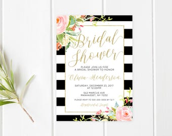 Bridal Shower Invitation, Bridal Shower Invite, Flowers, Pretty Bridal Shower Invites, Bridal Shower, Bride, Bride to Be, Floral [402]