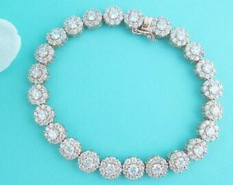 Rose Gold Bridal bracelet, rose gold cz wedding bracelet, cz bracelet, cubic zirconia bracelet, bridal jewelry, Alana Rose Gold Bracelet
