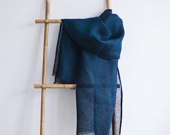 Linen Scarf / Prussian Dark Blue / Unisex Scarf