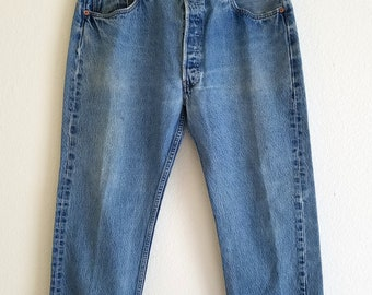 501 Levis Jeans Distressed Denim American Made USA 90s Button Fly 38x30