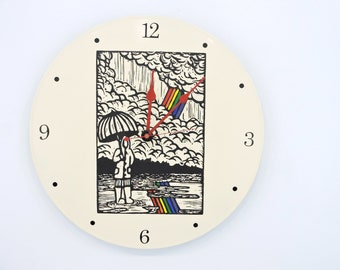 Double Rainbow Wall Clock recycled vinyl record