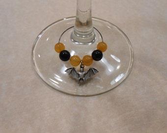 Halloween Bat Wine Glass Charms