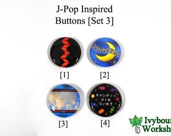 J-Pop / Vocaloid Inspired 1-Inch Pinback Buttons [Set 3]