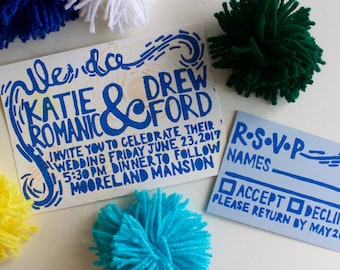 Handmade Wedding Invitations, Linocut Invitations, Linoleum Print, Wedding Invites, Hand Printed, Custom Wedding Invitations, Design DEPOSIT