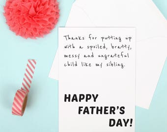 Funny mother's day card, funny mom card, father's day card, sibling card, gift for mum, gift for dad, mum birthday card, sibling card.