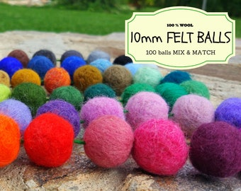 100 Wool Felt Beads, Mix and Match 10 mm/1 cm Wool Felt Balls, Multicolored Felted Balls in Bulk, Felted Beads, 100% Wool Felt Pom Poms