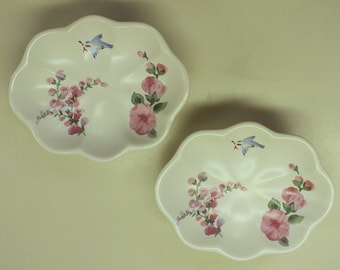 Pfaltzgraff Cape May Twin Soap Dishes with Pink Hollyhocks and Bluebird