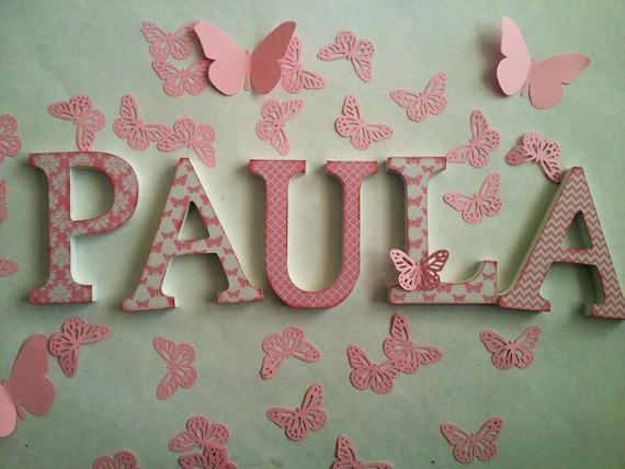 Letras de madera decoradas nombres bebé niños