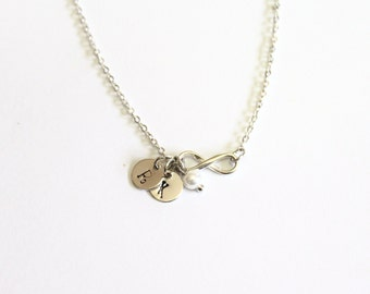 Personalized Infinity necklace, Initial Infinity Necklace, Silver Infinity necklace with initial discs, Mothers Grandma Family neck