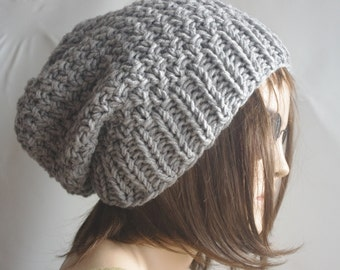 READY SHIP gift for wome dark gray Womens hat - chunky knit Slouchy  Beanie Slouch Hat Fall Winter Accessories Beanie Autumn Christmas