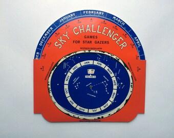 Vintage Sky Challenger - Games For Star Gazers - Star Wheel Game - Cardboard Celestial Game - 1978 University of California