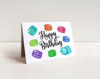 Happy Birthday Card - Watercolor Macaron Birthday Greeting Card - Birthday Dessert Card - Rainbow Birthday Wishes Cookie Card - Macarons