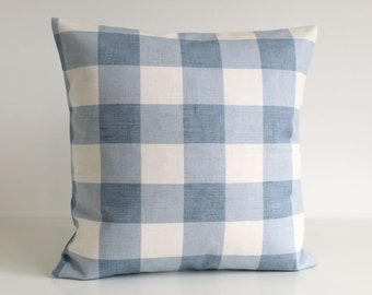 Cottage Chic, Buffalo Check Pillow Cover, Gingham Cushion Cover, Shabby Chic Pillow Sham, Throw Pillow Cover, Pillowcase - Gingham Blue