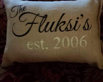 Burlap pillow, personalized pillow, personalized gift, Mother's Day gift, decorative pillow, accent pillow, throw pillow