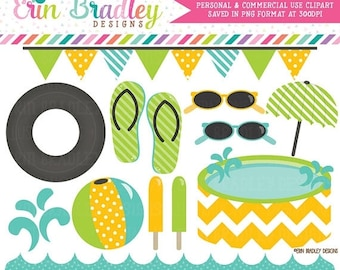 80% OFF SALE Pool Party Clipart Graphics Blue Yellow & Green Digital Clip Art Beach and Summer Graphics Instant Download