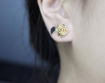 Gold Rose Earring, Wire Rose Earrings, Stud Earrings, Gift, For Her, Bridesmaid