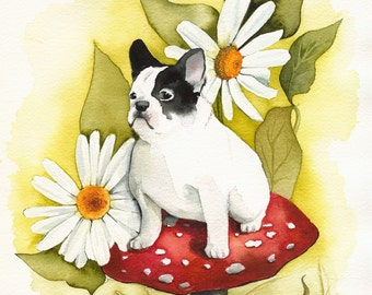 French Bulldog art, french bulldog, dog art, Forest Frenchie-dog art, french bulldog