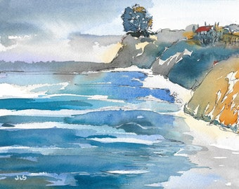 Watercolor and Ink Original Landscape Seascape Impressionist Ocean Painting Beach California