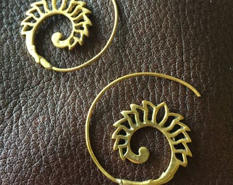 Indian Brass Spiral Earrings with Lotus Design