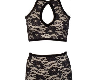 Lace Keyhole Cropped Halter