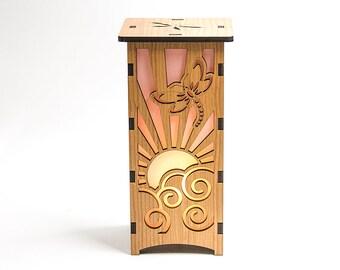 Wood Dragonfly Lamp, Laser Cut Lamp, Mother's Day Gift, Dragonfly Art, Sunshine Theme, Sunrise Lamp, Gift for Her, Nightlight, Home Decor
