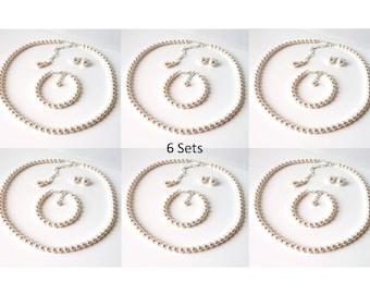 Bridesmaid Jewelry Set of 6, Bridesmaid Gift, Pearl Wedding Jewelry Set, Pearl Bridesmaid Jewelry, Bridal Party Gift, Bridesmaid Proposal