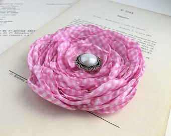 Pink Gingham Flower Hair Clip.Brooch.pin.Accessory.Bridesmaid.Wedding.Corsage.fascinator.Hair Piece.checkered.checked.Light Pink.Baby Pink