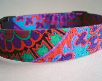 Purple Paisley Boho Bohemian Fabric Dog Collar Kaffe Fassett
