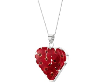 Silver Pendant Necklace - Poppy - Large Heart by Shrieking Violet®