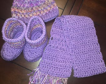 Booties, scarf and hat combo- HANDMADE - Crochet