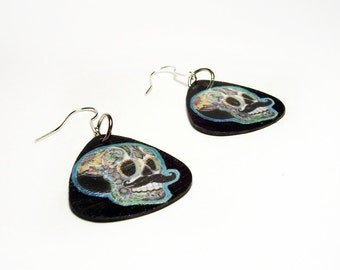 Black Sugar Skull, Day of The Dead, Guitar Pick Earrings with Silver ToneFish Hooks, Handmade, Dangle, Great for Halloween!
