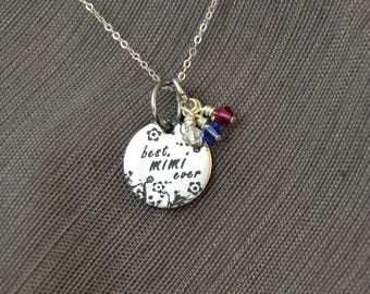 mothers day gift best mimi ever personalized mimi, mimi jewelry, mimi necklace, mimi gift, custom name pendant