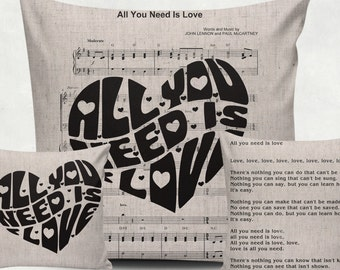 """Digital printing music """"All you need is love"""" for Tea Towels, Papercrafts, Transfer, music sheet clipart, burlap, Instant Download N12"""