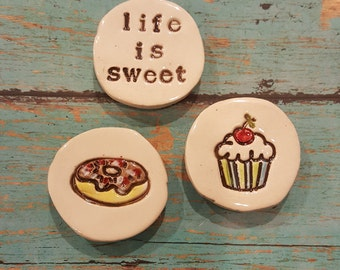 Sweet Trio Magnet Set, Valentine cupcake, donut, life is sweet