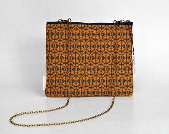 Sant Carles Reial Gift Box Bag, handbag, shoulder bag, wristlet bag, yellow sand and indigo